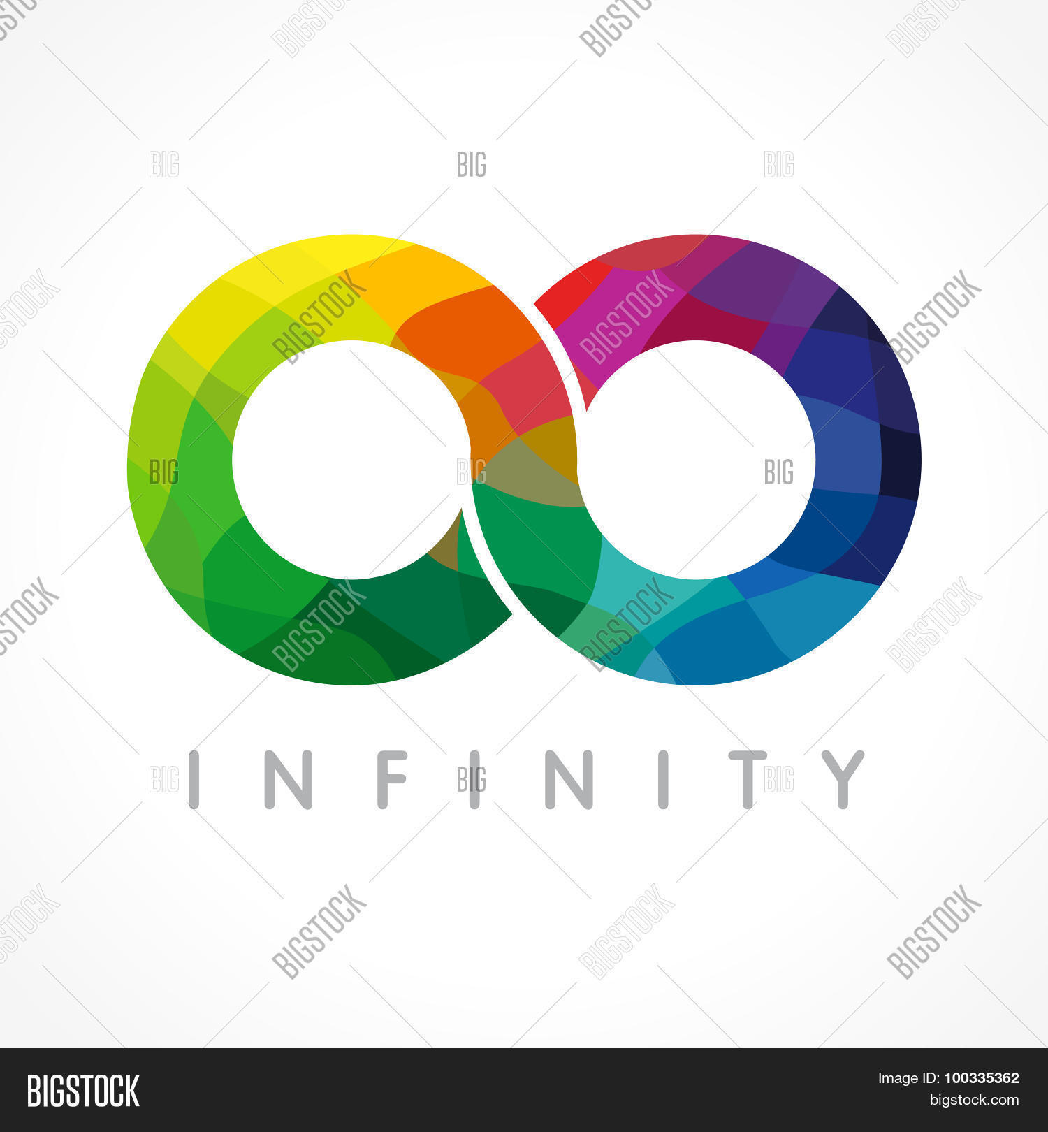 Infinity colored logo. Stained-glass graphics infinite vector template brand sign in various colors. Infinit staned symbol of constancy or number 0 with mosaic element. Creative, bright eyeglasses shape.
