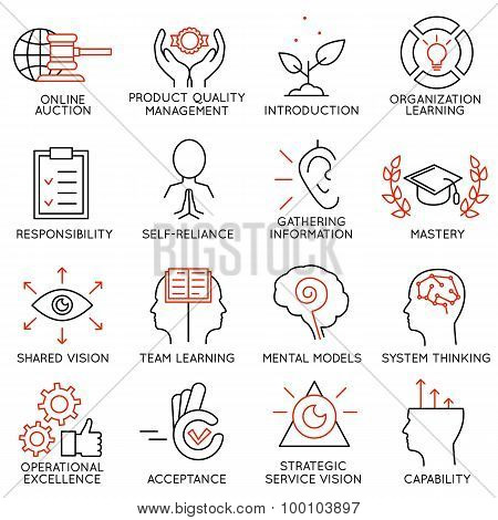 Vector set of 16 icons related to business management strategy career progress and business process. Mono line pictograms and infographics design elements - part 6 stock photo