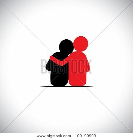 set of friendship dependence empathy bonding - vector icons. this also represents concepts like responsibility concern care together sympathy trust faith hope & expectation assurance stock photo