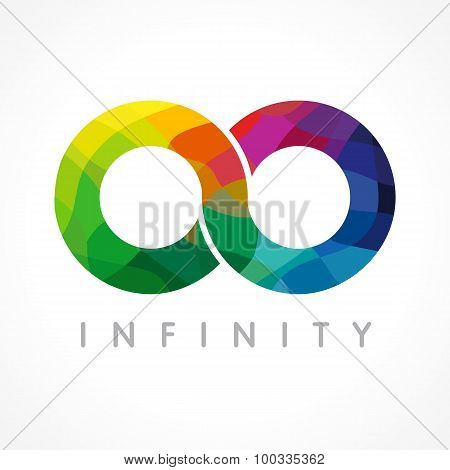 Infinity colored logo. Stained-glass graphics infinite vector template brand sign in various colors. Infinit staned symbol of constancy or number 0 with mosaic element. Creative, bright eyeglasses shape. stock photo