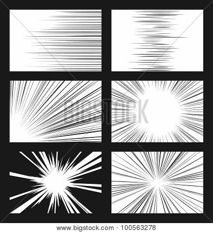 Comic horizontal and radial speed lines vector set. Ray and acceleration, otherworldly visionary illustration stock photo
