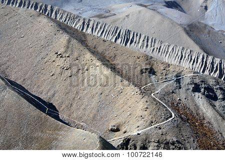 Manang Valley Trek Thorong La a mountain pass Annapurna Himal Nepal ** Note: Soft Focus at 100%, best at smaller sizes stock photo