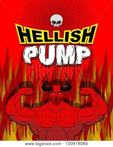 Hellish pump. Satan bodybuilder with huge muscles. Workout with the devil in purgatory. Red athlete with large horns. Gym in Gehenna fire. Devilish pumping muscle. Vector illustration stock photo
