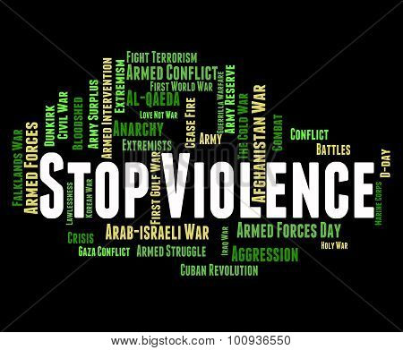 Stop Violence Showing Brute Force And Stopped stock photo