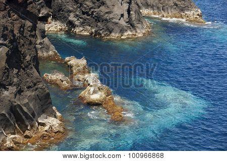 Azores volcanic coastline in sao jorge. faja do ouvidor. portugal