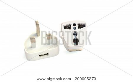 old white mobile charger adapter on white background stock photo