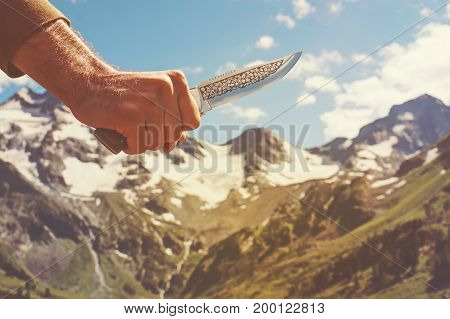 Adventure Wilderness Nature Man With Knife