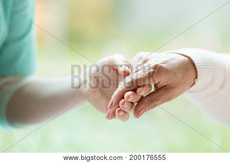Hand of nurse holding elder woman's palm blurred background stock photo