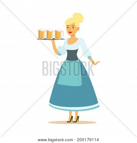 Pretty waitress in a blue Bavarian traditional costume holding beer mugs on a tray, Oktoberfest beer festival vector Illustration on a white background stock photo