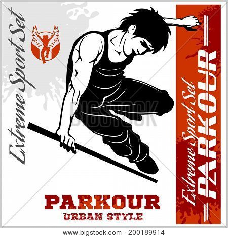 Boy parkour is jumping - illustration and emblem - set of vector images on white