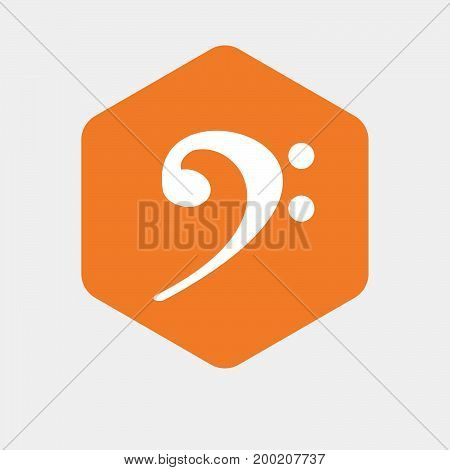 Illustration of an isolated hexagon button with an F clef stock photo
