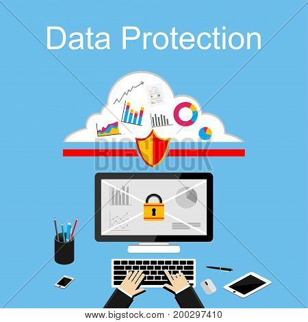 Data protection illustration. Flat design illustration concepts for data security, internet security, secure internet access, secure online storage stock photo