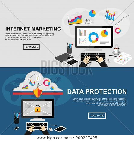 Banner for internet marketing and data protection. Flat design illustration concepts for finance, business statistics, data analysis, internet marketing, data protection, data security, internet security. stock photo