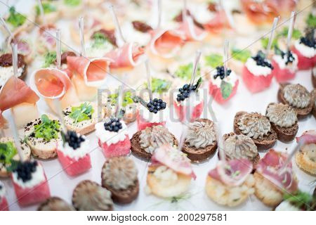 Different canapes with smoked salmon cucumber and red currant served on sea shell over a mirror plate. Pastry cream cheese and cucumber canapes. Gorgonzola and olives Small catering canape. stock photo