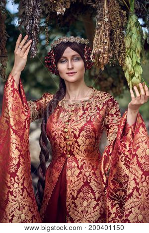 Beautiful Isabella of France queen of England on Middle Ages period in red gown near medieval castle stock photo