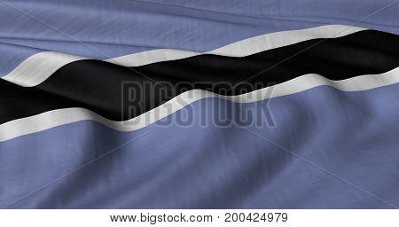 3D illustration of Botswana  flag fluttering in light breeze stock photo