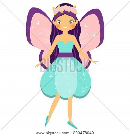 Beautiful flying fairy character with pink wings and purple hair. Fantasy elf princess with flower wreath. Winged girl in cartoon style. Vector illustration for kids and babies stock photo