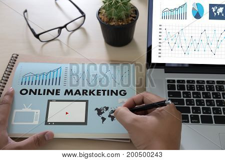 ONLINE MARKETING man on computer Advertisement Social On line Market word Startup Marketing Online Project stock photo