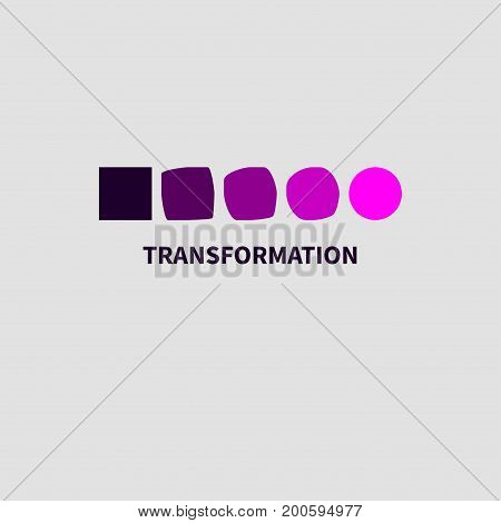Logo coaching development. Icon personal growth training. Square turns into circle. Vector illustration. stock photo
