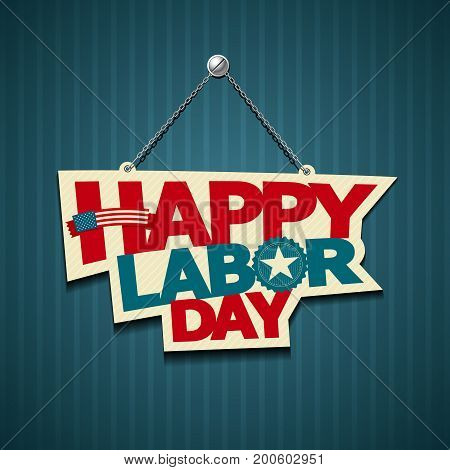 labor day over blue background vector illustration