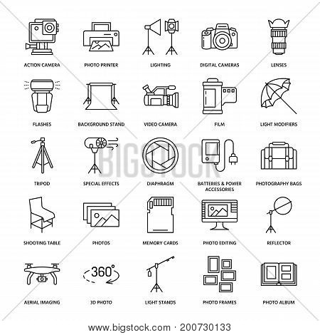 Photography equipment flat line icons. Digital camera, photos, lighting, video cameras, photo accessories, memory card, tripod lens film. Vector illustration, signs for photo studio or store. stock photo