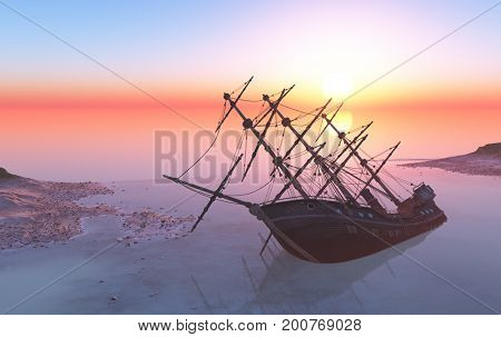 An old ship after the crash.,3d render stock photo