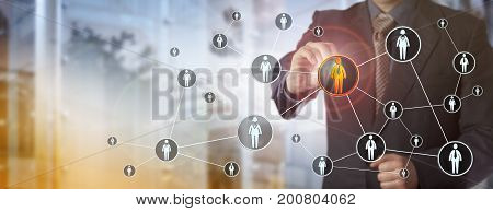 Blue chip recruitment agent highlighting a male white collar worker in a virtual network. HR concept for search for talented employees qualified staff marketing and peer to peer networking. stock photo