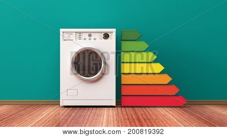 Washing machine and energy efficiency rating. 3d illustration stock photo
