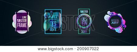Vector frame for text Modern Art graphics for hipsters . dynamic frame stylish geometric colorful 80s-style kitsch. element for design business cards, invitations, gift cards, flyers and brochures. stock photo