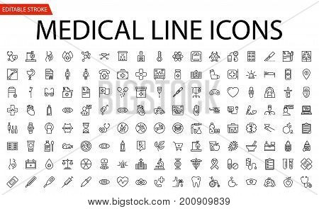 Medical Vector Icons Set. Line Icons, Sign and Symbols in Flat Linear Design Medicine and Health Care with Elements for Mobile Concepts and Web Apps. Collection Modern Infographic Logo and Pictogram.