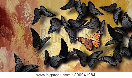 Graphic illustration of iconic beautiful fully developed Monarch Butterfly among a large crowd of common gray black ones. Simple conceptual illustration of being unique.