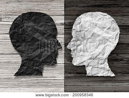 Bipolar mental health and brain disorder concept as a human head in paper divided in two colors as a neurological mood and emotion symbol or medical psychological metaphor for social behavior challenges in a 3D illustration style. stock photo