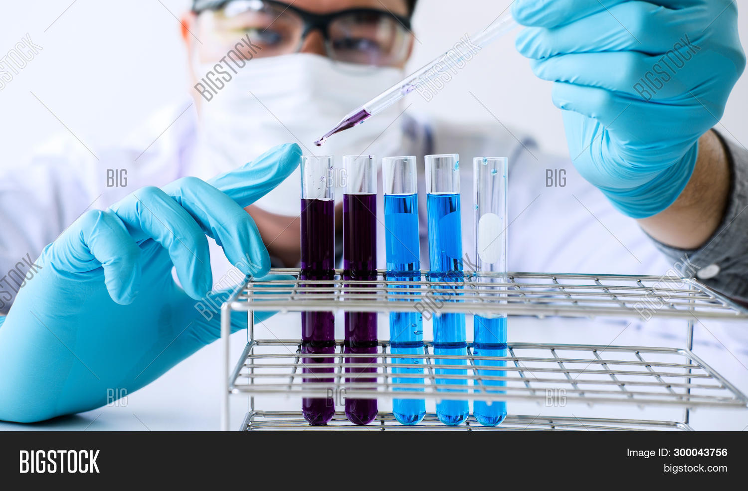 Biochemistry Laboratory Research, Scientist Or Medical In Lab Coat Holding Test Tube With Reagent Wi