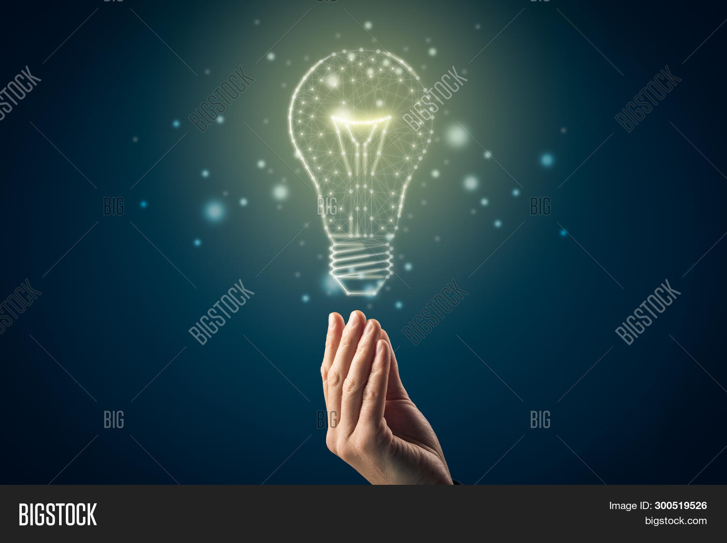 Turn On Creativity, Idea And Intelligence Concepts. Hand And Graphics Light Bulb - Symbols Of Idea,
