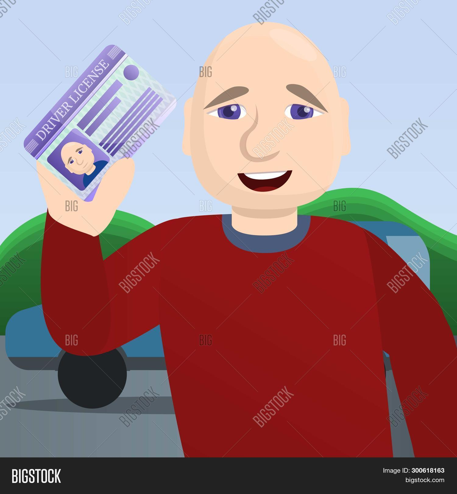 Happy Man Pass Driving Exam Concept Background. Cartoon Illustration Of Happy Man Pass Driving Exam