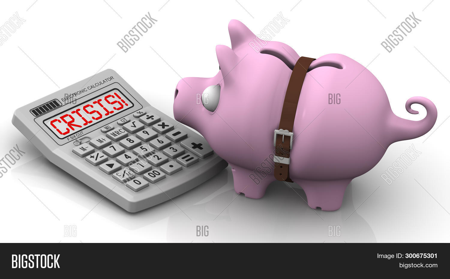 Economic Crisis. Financial Concept. Mumps (piggy Bank With Tightened Strap) Looks At The Calculator