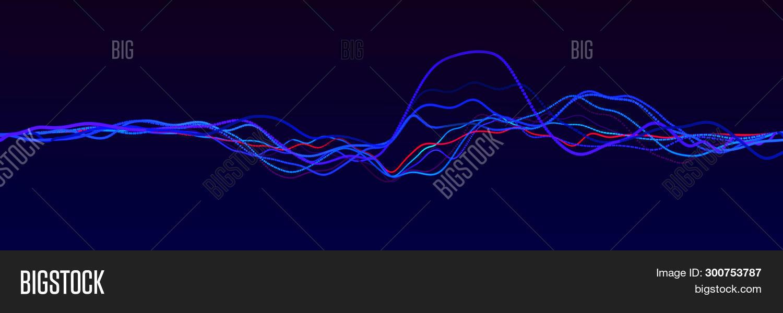 Sound Wave Element. Abstract Blue Digital Equalizer. Big Data Visualization. Dynamic Light Flow. 3D