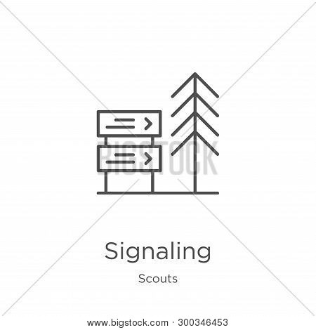 signaling icon isolated on white background from scouts collection. signaling icon trendy and modern signaling symbol for logo, web, app, UI. signaling icon simple sign. signaling icon flat vector illustration for graphic and web design. stock photo