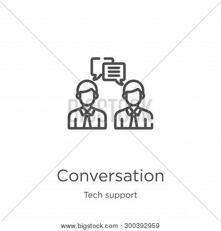 conversation icon isolated on white background from tech support collection. conversation icon trendy and modern conversation symbol for logo, web, app, UI. conversation icon simple sign. conversation icon flat vector illustration for graphic and web desi stock photo