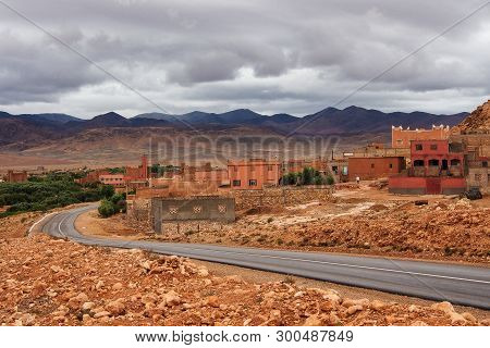 Dades Gorge is a gorge of Dades River in Atlas Mountains in Morocco. Dades Gorge depth is from 200 to 500 meters. stock photo