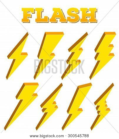 Creative vector illustration of thunder and bolt lighting flash icon set isolated on transparent background. Art design electric thunderbolt. Abstract concept graphic dangerous symbol icon element. stock photo