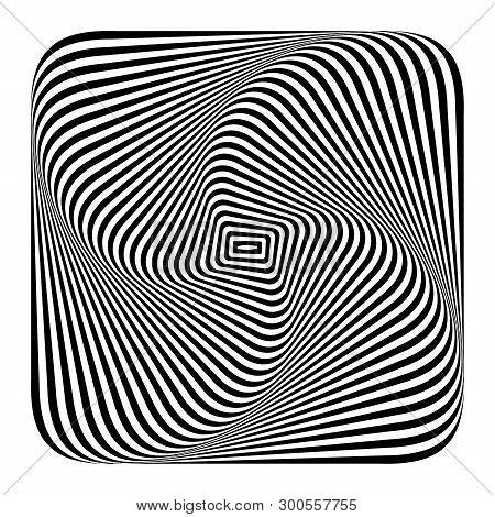 Illusion of twist torsion movement. Wavy lines texture. Vector art. stock photo