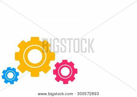 Three Different Sized Colored Cog Wheels Gear Engaging, Interlocking, Tessellating. Creative Background Idea for Industrial and Tech Announcement, Teamwork and Community Interaction stock photo