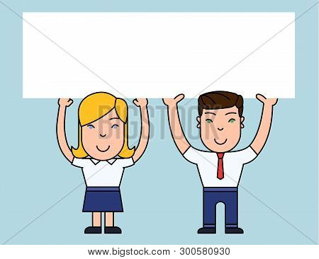 Two Smiling People Male and Female Holding Big Blank Poster Board Overhead with Both Hands. Creative Background Space for Announcements and Promotions stock photo