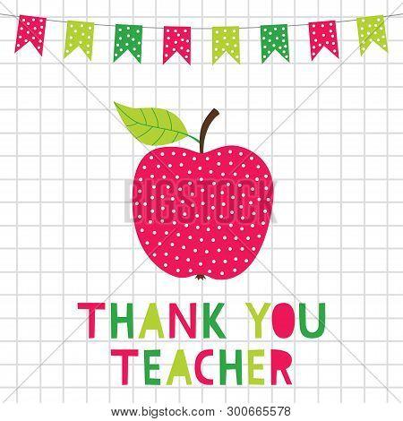 Teacher Appreciation Greeting Card With An Apple