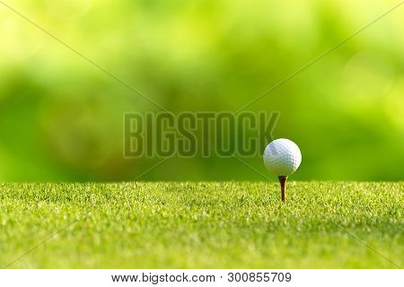Golf ball approach to the tee off on the green for the swing golf in vacation day. Lifestyle and Sport Concept. stock photo