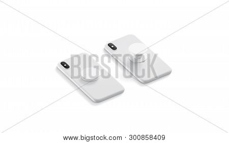 Blank white phone pop sockets sticked on smartphones mockups, lying isolated, side view, 3d rendering. Empty popsocket round holder opened and closed for phone mock up. Clear attached grip on mobile. stock photo