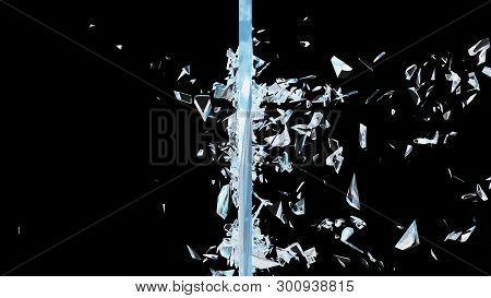 Abstract broken glass into pieces. Wall of glass shatters into small pieces. Place for your banner, advertisement. Explosion caused the destruction of glass. 3d illustration stock photo