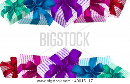 Birthday, anniversary, Christmas, wedding: Borders of colorful gift boxes isolated on white background stock photo