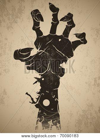 Vintage halloween symbol - zombie hand